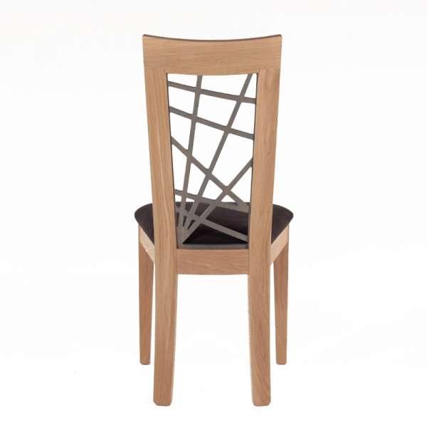 Chaise en chêne massif contemporaine made in France avec assise en tissu gris - Crocus - 4