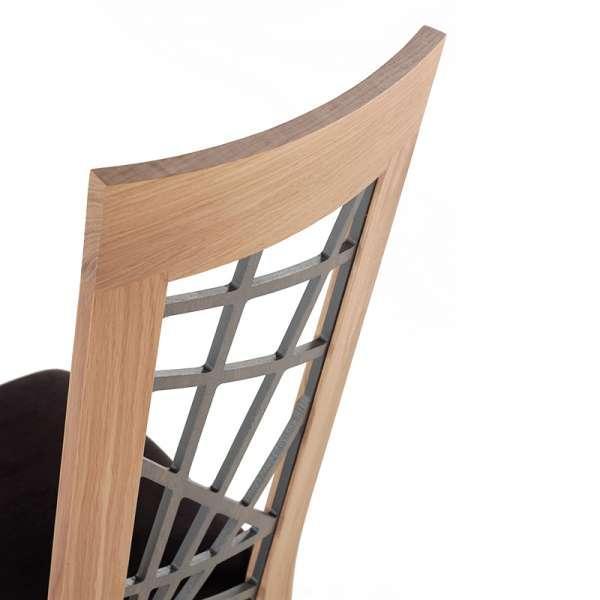 Chaise en chêne massif contemporaine made in France avec assise en tissu gris - Crocus - 7