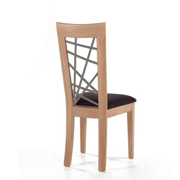 Chaise en chêne massif contemporaine made in France avec assise en tissu gris - Crocus - 2
