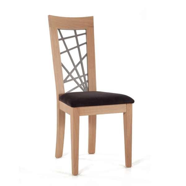 Chaise en chêne massif contemporaine made in France avec assise en tissu gris - Crocus - 1