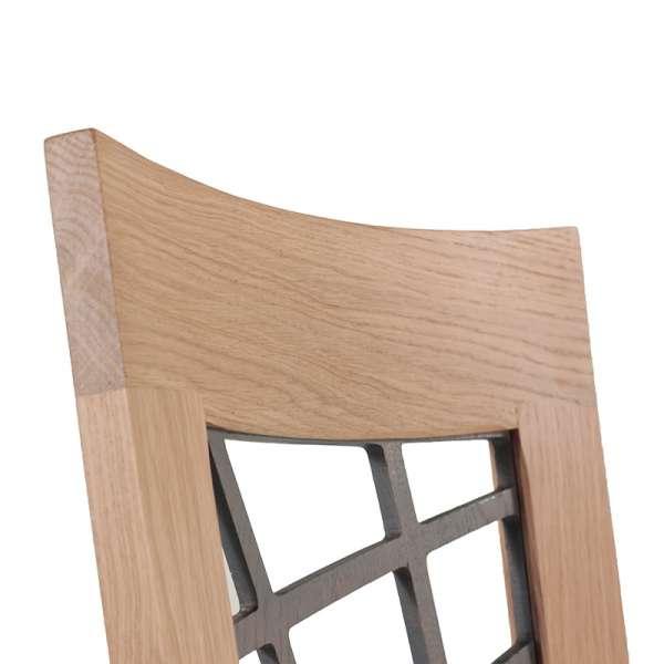 Chaise en chêne massif contemporaine made in France avec assise en tissu gris - Crocus - 6