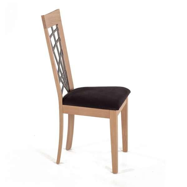 Chaise en chêne massif contemporaine made in France avec assise en tissu gris - Crocus - 3