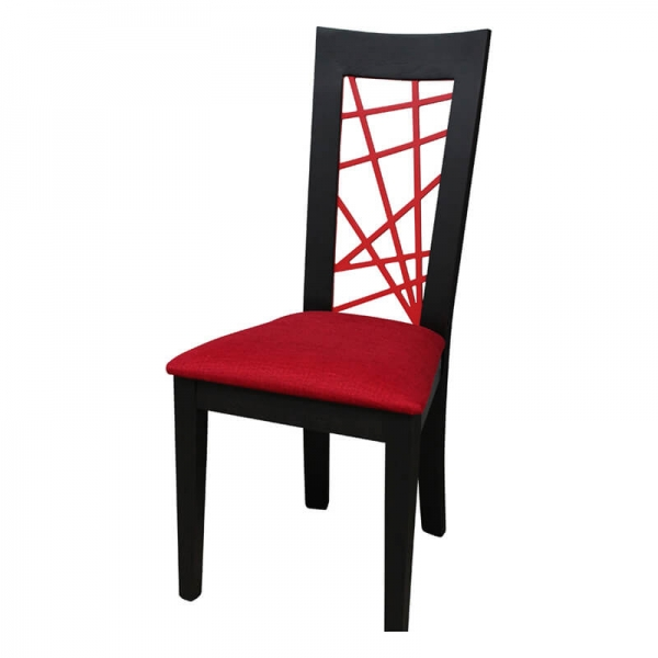 Chaise en chêne massif rouge et noire contemporaine made in France  - Crocus - 8