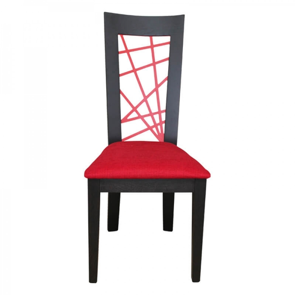 Chaise en chêne massif rouge et noire contemporaine made in France  - Crocus - 9