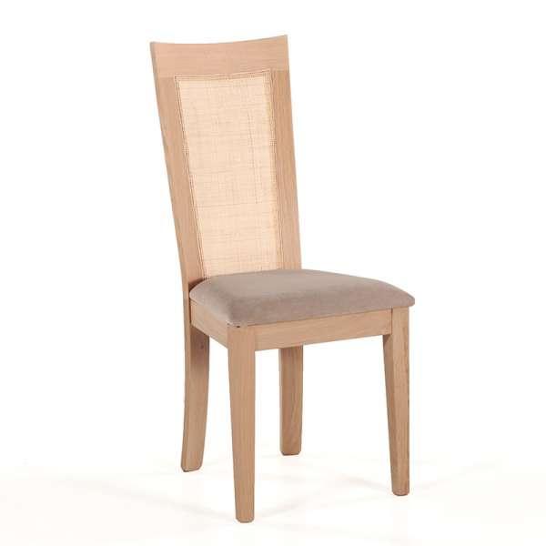 Chaise cannée assise en tissu beige et structure en bois massif - Crocus - 1