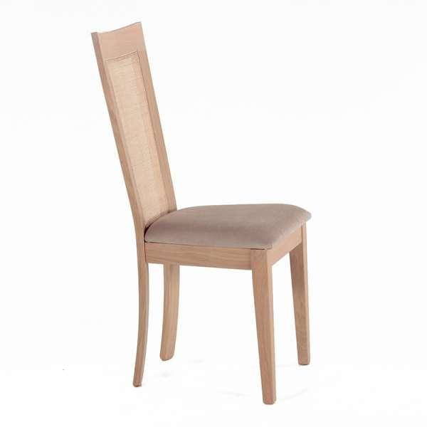 Chaise cannée assise en tissu beige et structure en bois massif - Crocus - 2