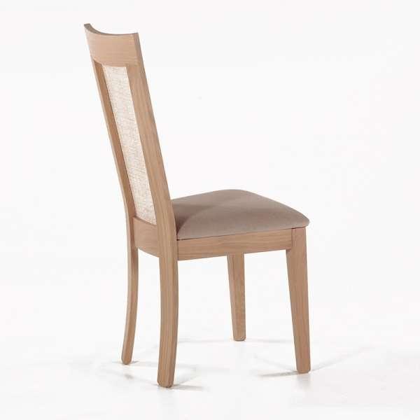 Chaise cannée assise en tissu beige et structure en bois massif - Crocus - 3