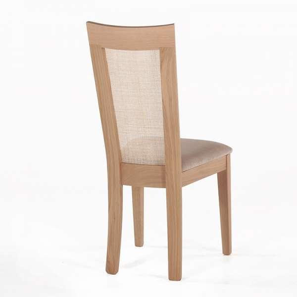 Chaise cannée assise en tissu beige et structure en bois massif - Crocus - 4