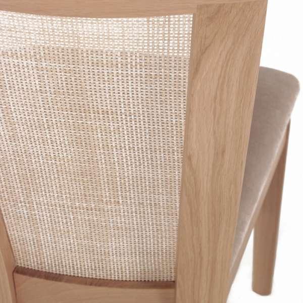 Chaise cannée assise en tissu et structure en bois massif - Crocus - 5