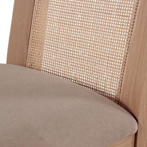 Chaise cannée assise en tissu et structure en bois massif - Crocus - 7