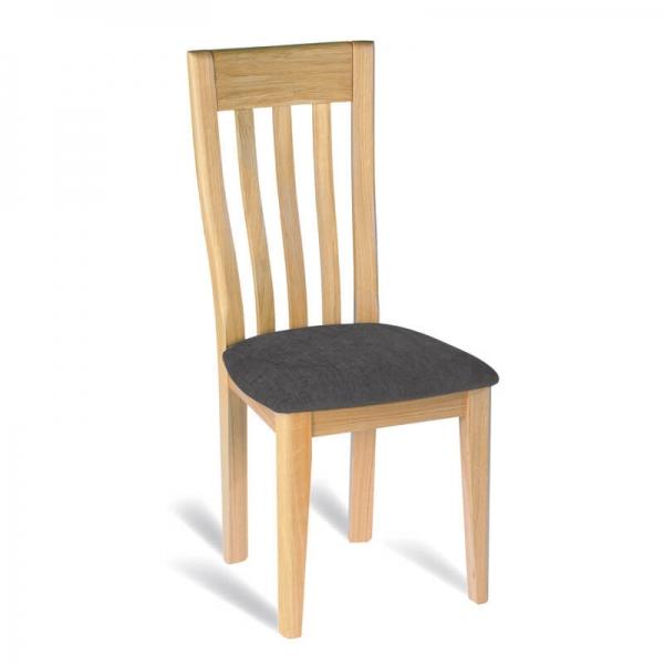 Chaise française à barreaux en chêne massif assise tissu gris - Safran 1130 - 1