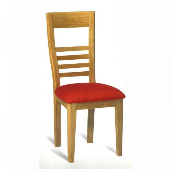 Chaise de séjour française en chêne assise tissu rouge - Safran 1110 - 1