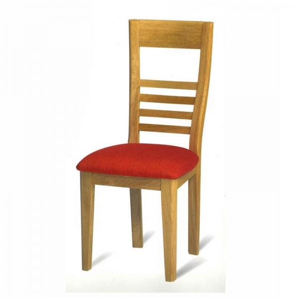 Chaise de séjour française en chêne assise tissu rouge - Safran 1110 - 2