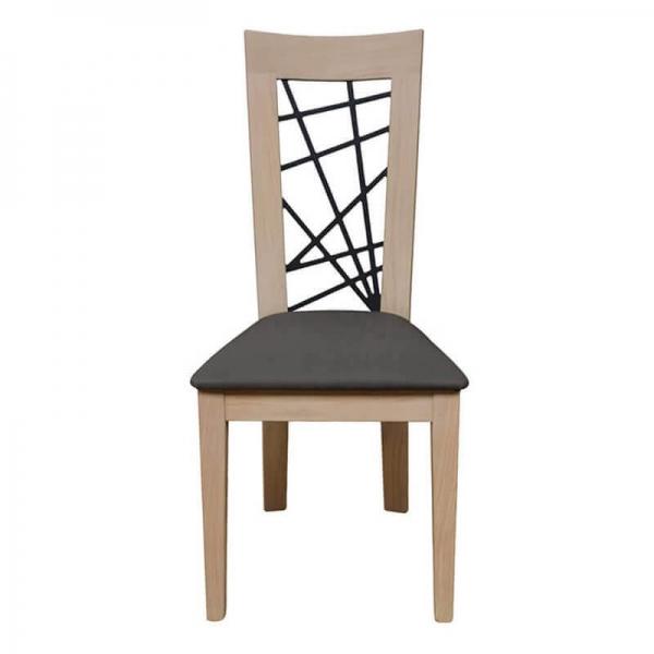 Chaise fabriquée en France contemporaine dossier fantaisie assise grise - Crocus 1653 - 3
