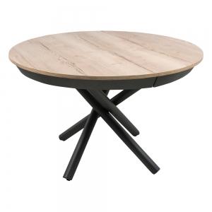 Table ronde extensible design en mélaminé et pied mikado - Fahrenheit
