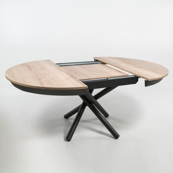 Table ronde design avec allonges en mélaminé et pied mikado - Fahrenheit - 2