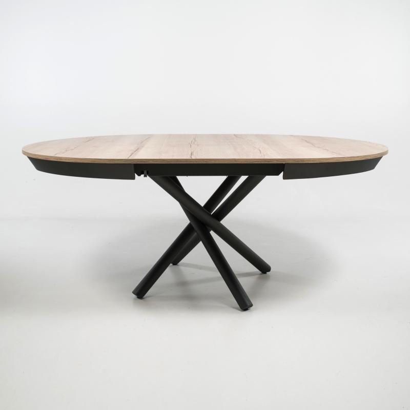 table ronde extensible design en mélaminé et pied mikado