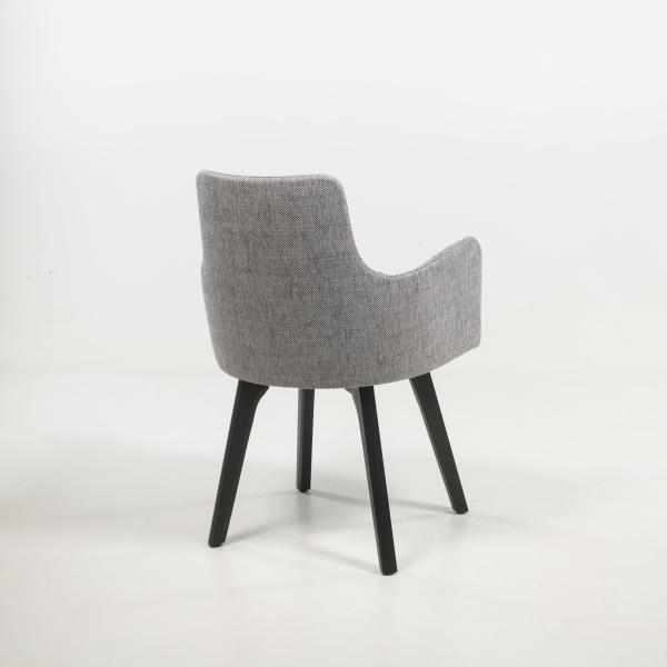 Fauteuil cosy design en tissu gris et pieds bois - Anders - 4