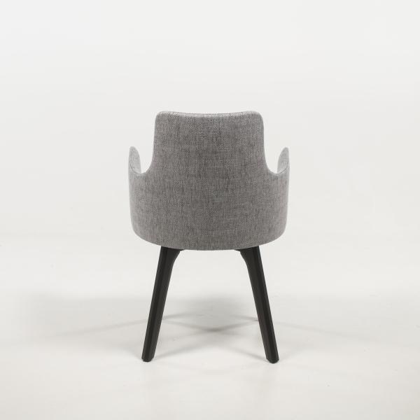 Fauteuil design cosy en tissu gris et pieds bois - Anders - 5