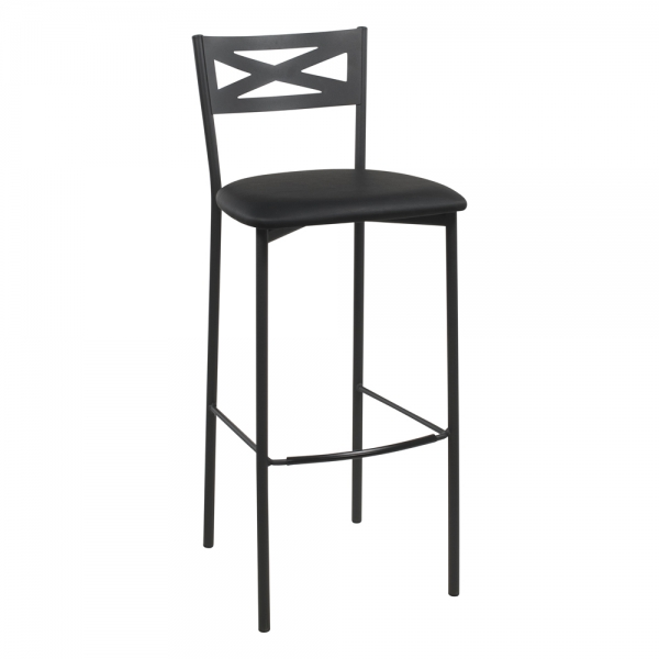 Tabouret de bar contemporain noir assise noire - 19