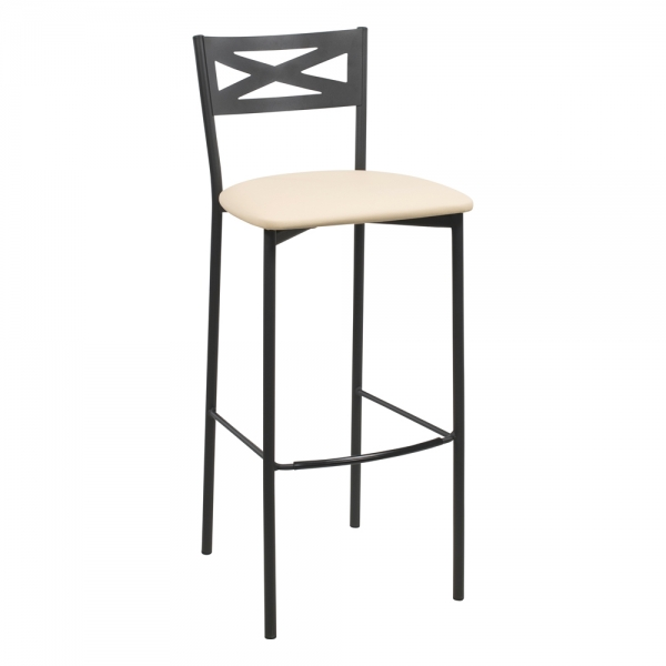 Tabouret de bar contemporain noir assise beige - 20