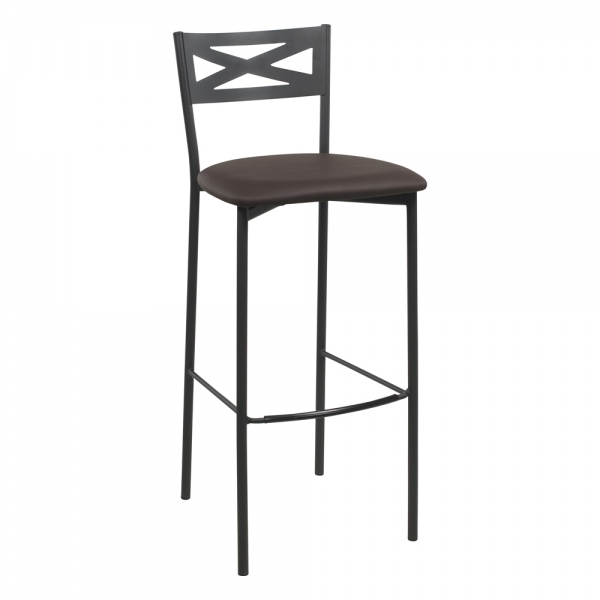 Tabouret de bar contemporain noir assise anthracite - 21