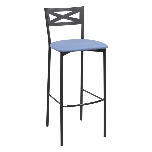 Tabouret de bar contemporain noir assise bleue - 22