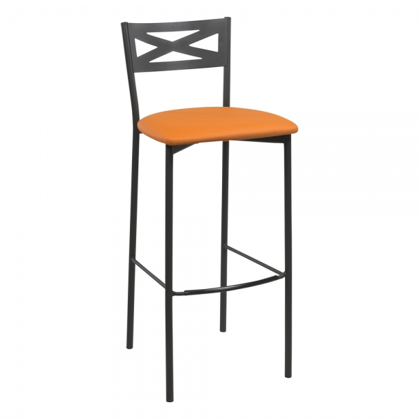 Tabouret de bar contemporain noir assise jaune moutarde - 23