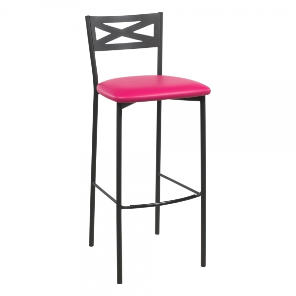Tabouret de bar contemporain noir assise fuchsia - 25