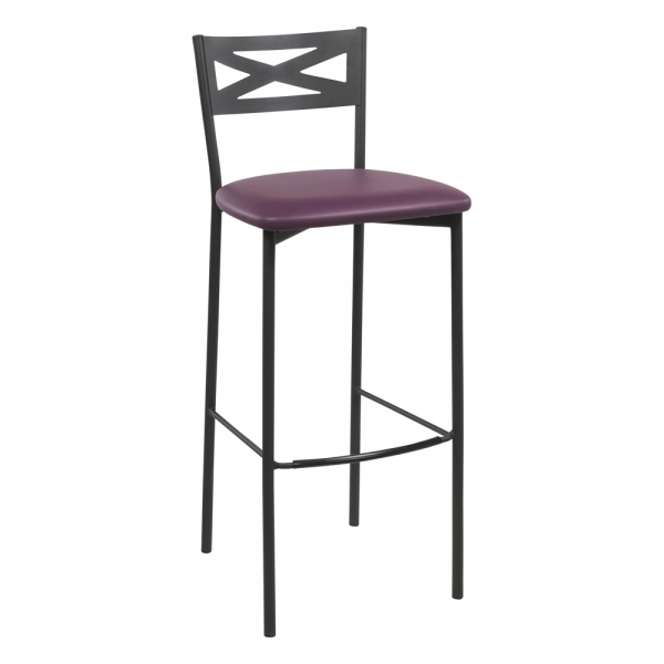 Tabouret de bar contemporain noir assise aubergine - 26