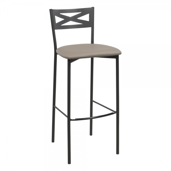 Tabouret de bar contemporain noir assise taupe - 27