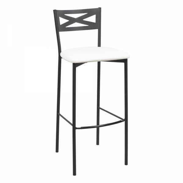 Tabouret de bar contemporain noir assise blanche - 28