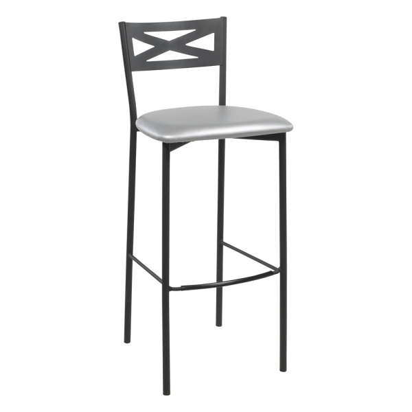 Tabouret de bar contemporain noir assise brillante gris - 29