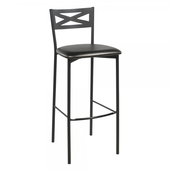 Tabouret de bar contemporain noir assise brillante noire - 30