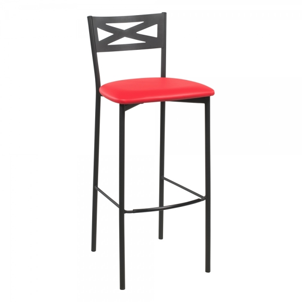 Tabouret de bar contemporain noir assise rouge - 31