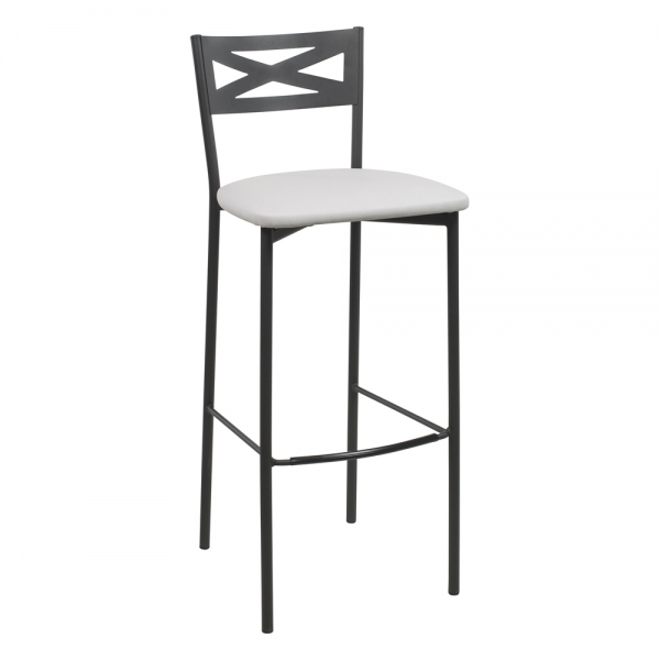 Tabouret de bar contemporain noir assise gris clair - 32