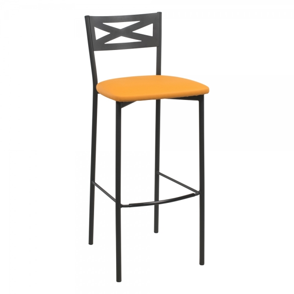 Tabouret de bar contemporain noir assise jaune moutarde - 33