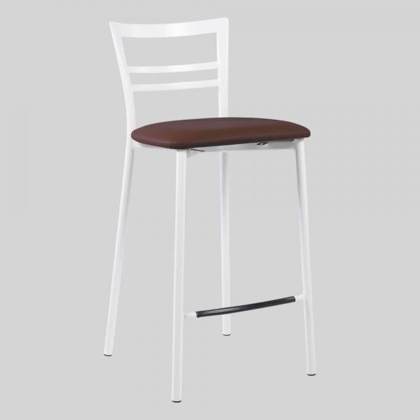 Tabouret snack contemporain en synthétique et métal blanc assise moka - Go 1513 31 - 79