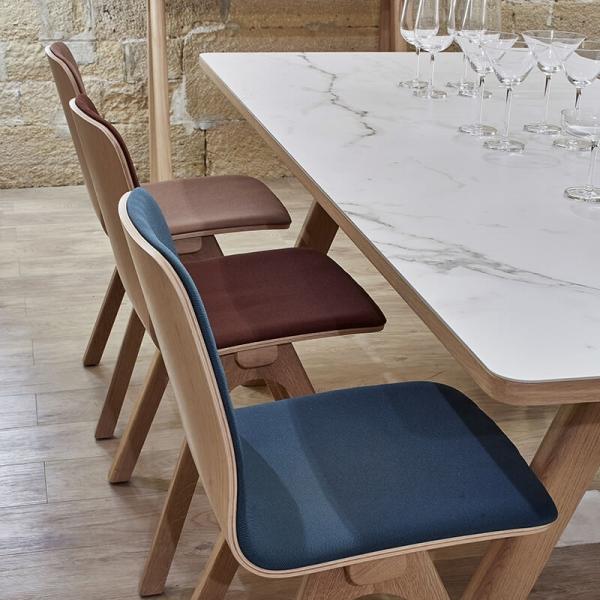 Table tendance en céramique et bois de fabrication française - Chevron - 2