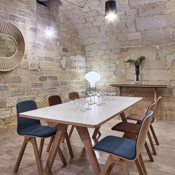Table française en céramique et bois design - Chevron - 3