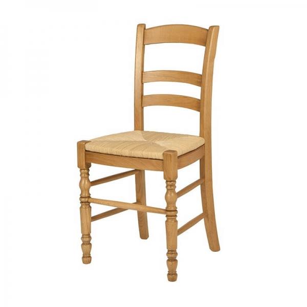 Chaise de séjour rustique en bois et paille de seigle -380 - 7