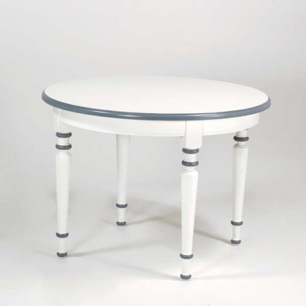 Table ronde française avec allonges style rustique en chêne massif - 4 Pieds - 3
