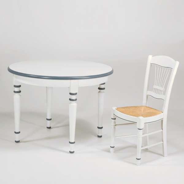 Table ronde française extensible style provençal en chêne massif - 4 Pieds - 2