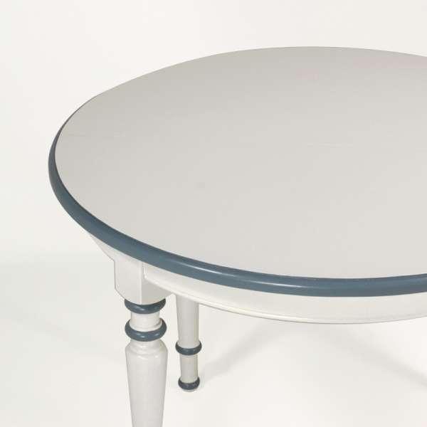 Table ronde française avec allonges style provençal en chêne massif - 4 Pieds - 11