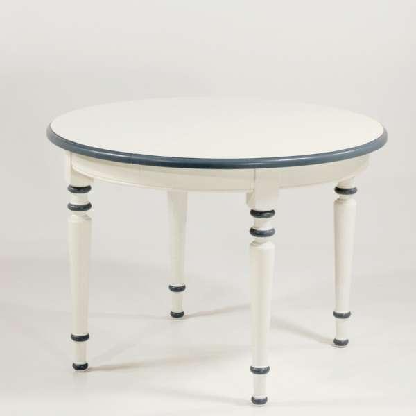 Table ronde française extensible style rustique en chêne massif - 4 Pieds - 1