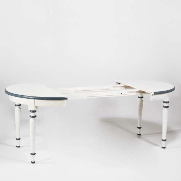 Table ronde fabrication française avec allonges style provençal en chêne massif - 4 Pieds - 8