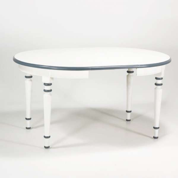 Table ronde made in France extensible style provençal en chêne massif - 4 Pieds - 7