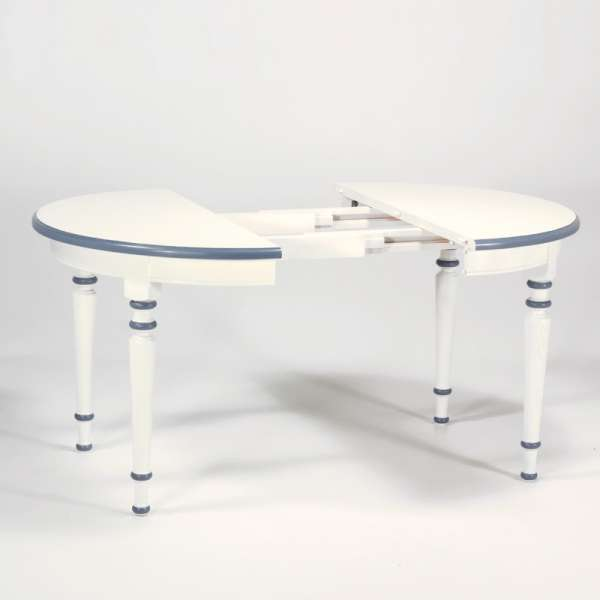 Table ronde made in France avec allonges style rustique en chêne massif - 4 Pieds - 5