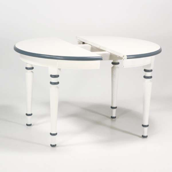 Table ronde made in France extensible style rustique en chêne massif - 4 Pieds - 4