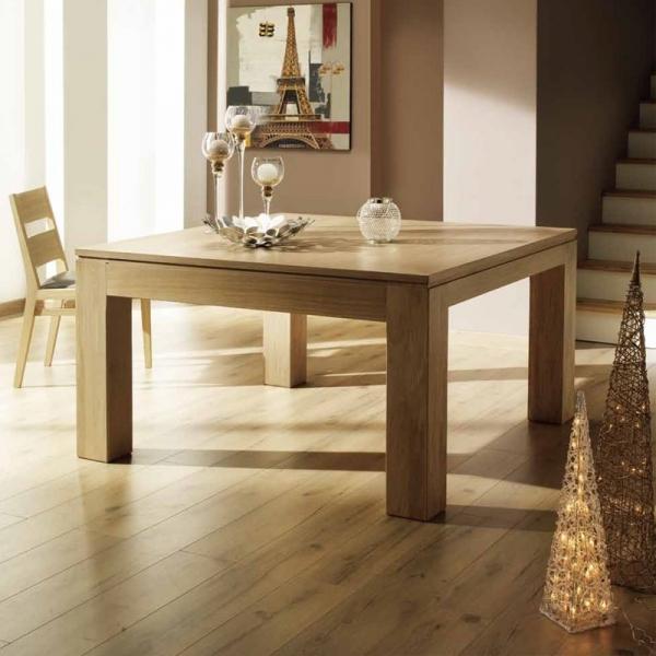 Table carrée extensible en bois massif made in France - Baobab - 1